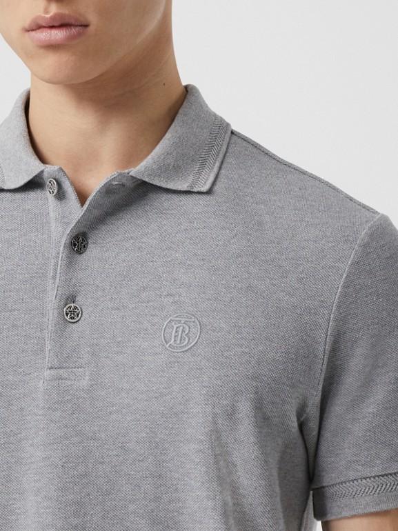 Button Detail Cotton Piqué Polo Shirt in Pale Grey Melange - Men | Burberry Canada - cell image 1