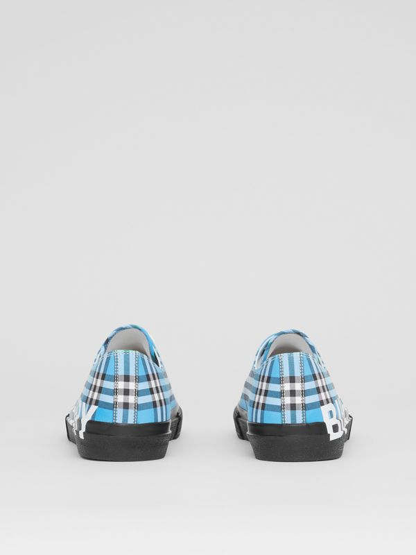 Logo Print Check Cotton Sneakers in Blue Azure - Men | Burberry - cell image 3