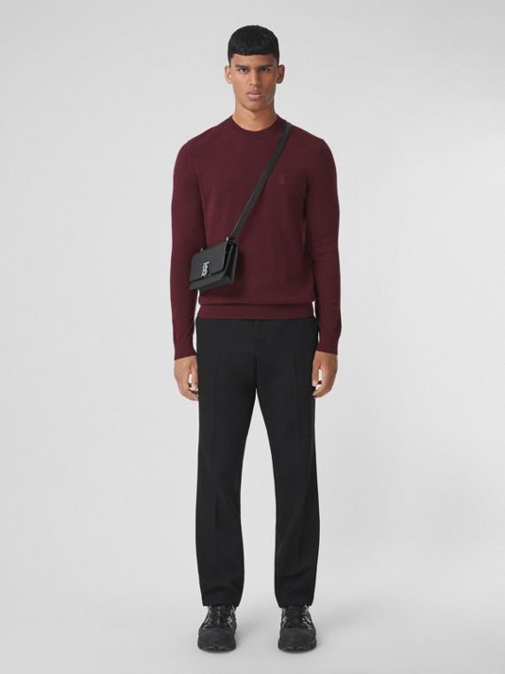 Monogram Motif Cashmere Sweater in Burgundy