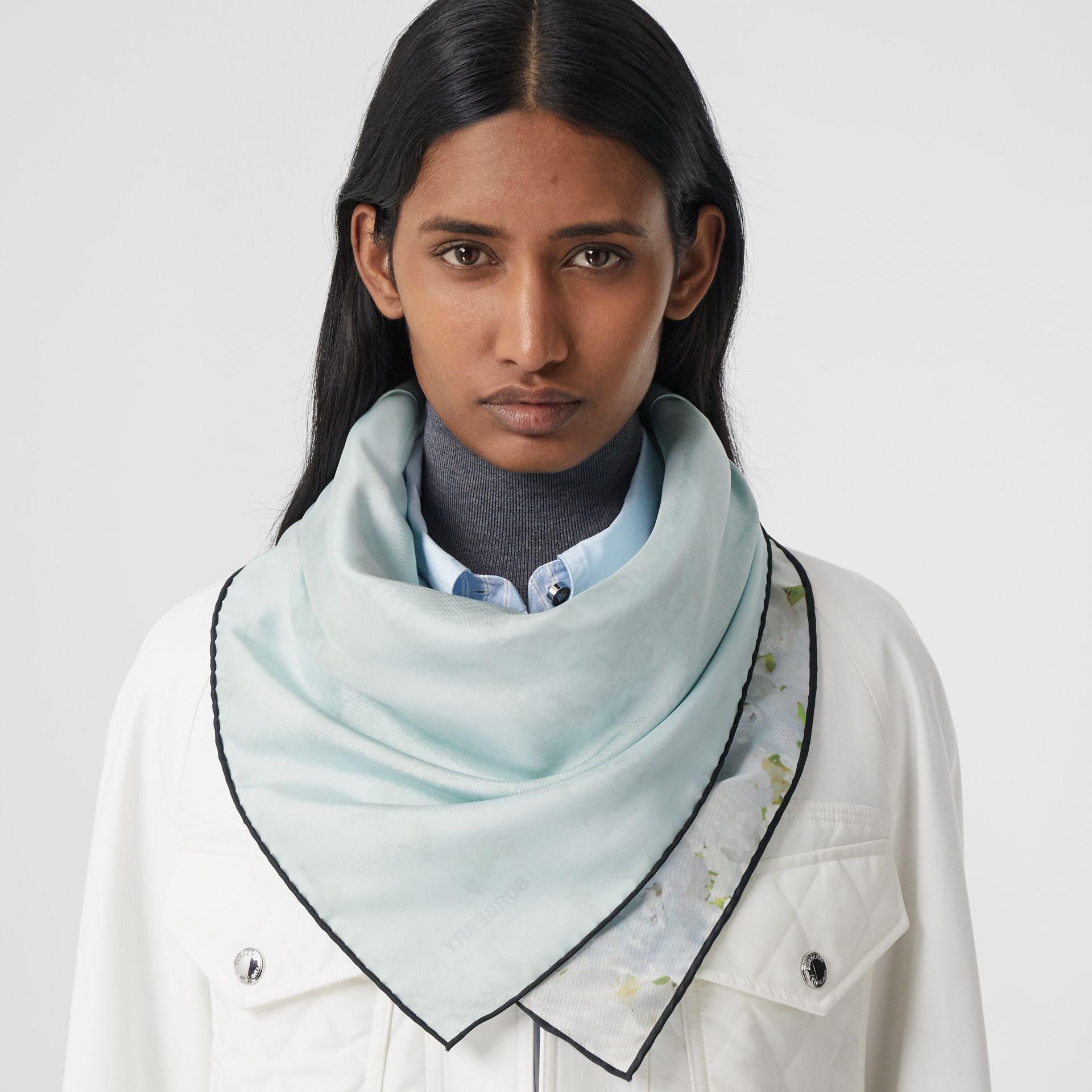 Meadow Print Silk Square Scarf in White | Burberry Hong Kong S.A.R. - gallery image 2
