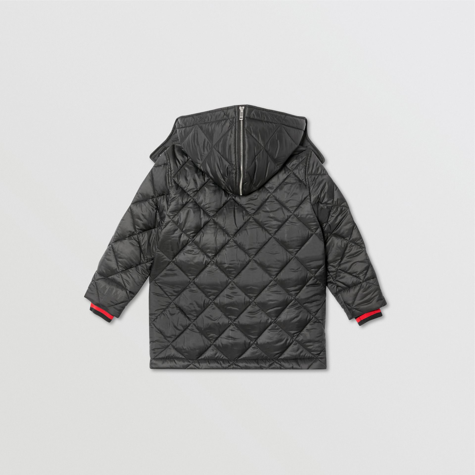Detachable Hood Logo Detail Diamond Quilted Coat | Burberry United Kingdom - gallery image 4