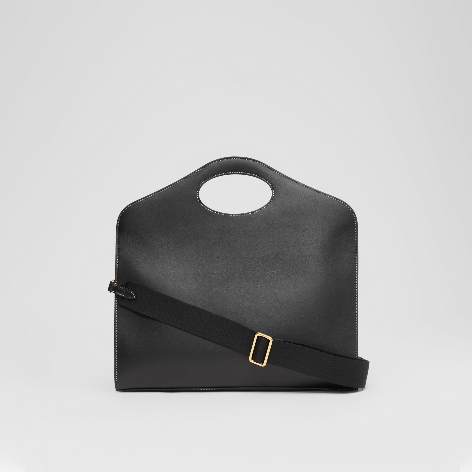 Medium Topstitched Leather Pocket Tote in Black - Women | Burberry - gallery image 7