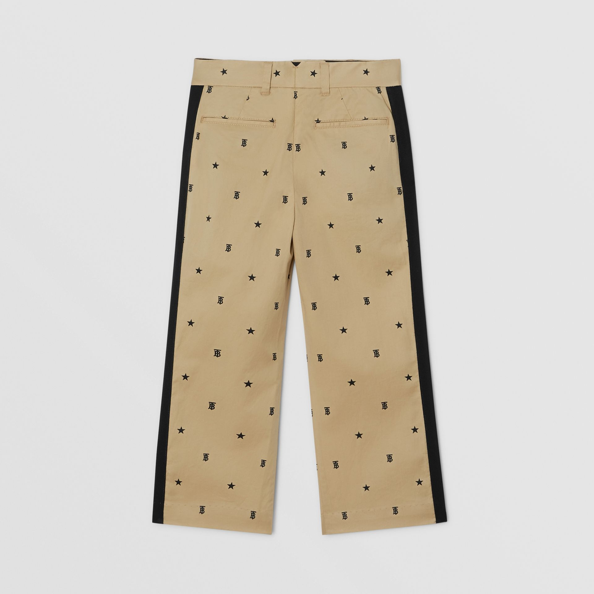 Star and Monogram Motif Stretch Cotton Trousers in Sand | Burberry - gallery image 3