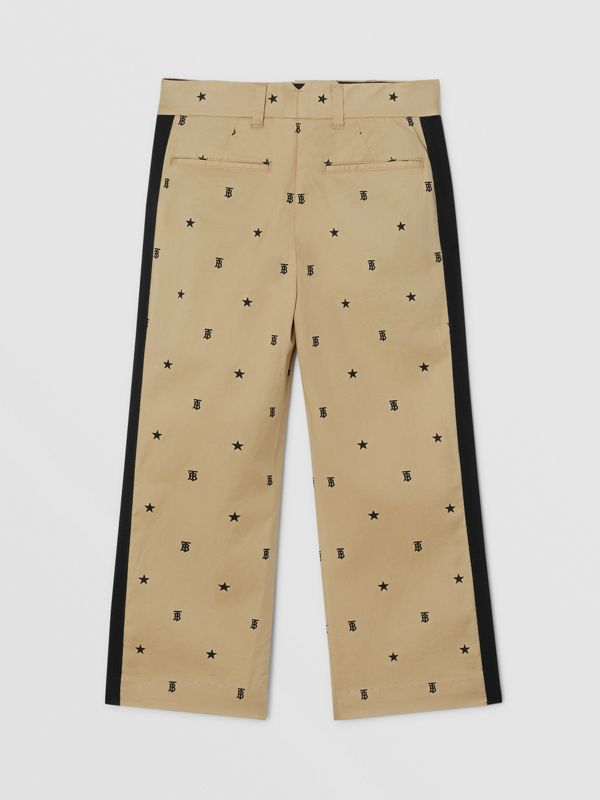 Star and Monogram Motif Stretch Cotton Trousers in Sand | Burberry - cell image 3
