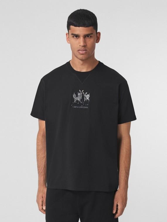 Oversize-T-Shirt aus Baumwolle mit Rehstickerei (Schwarz)