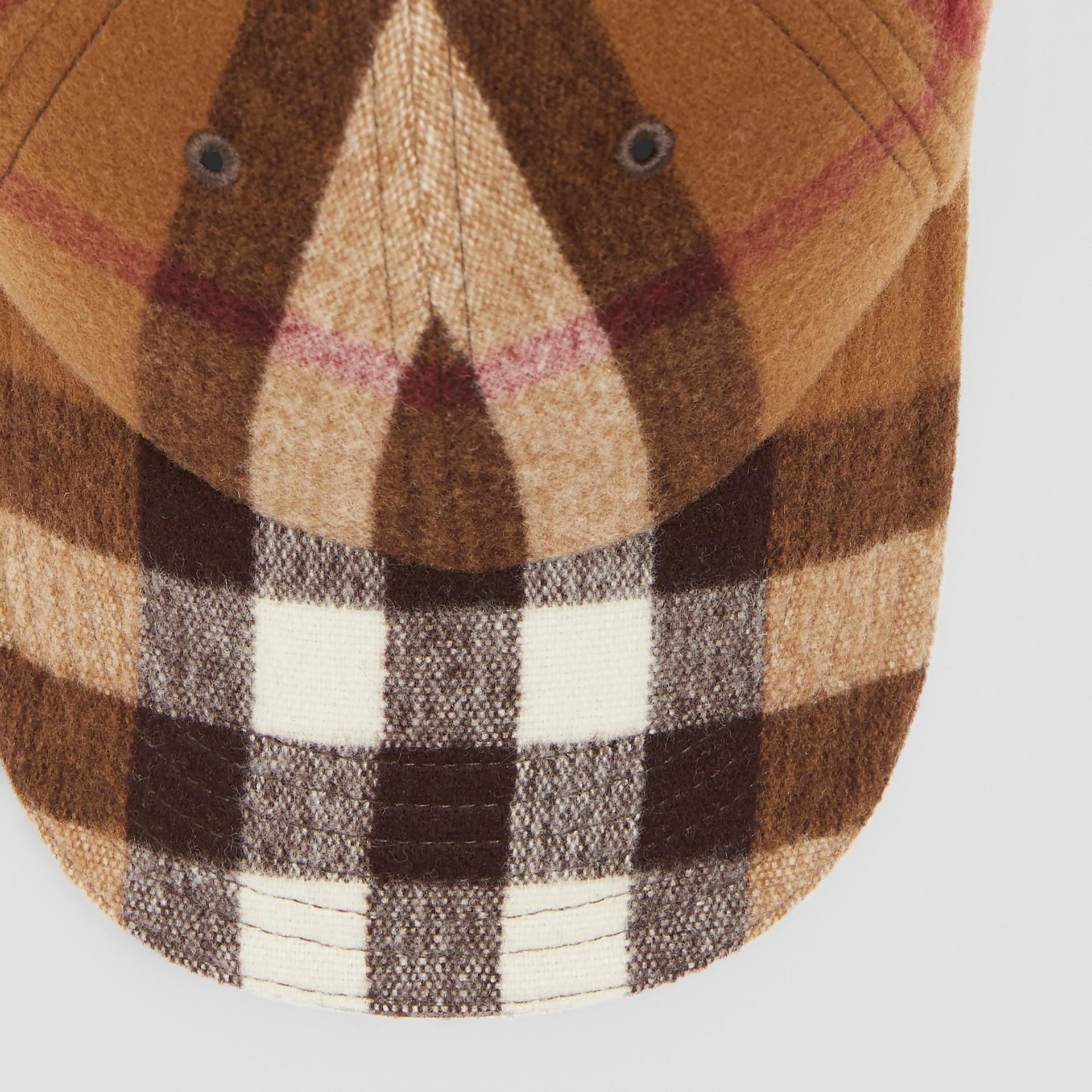 Lambskin Trim Check Wool Baseball Cap in Birch Brown | Burberry - gallery image 1