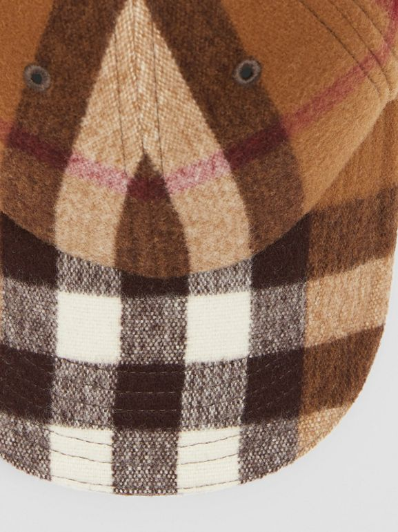 Lambskin Trim Check Wool Baseball Cap in Birch Brown | Burberry - cell image 1