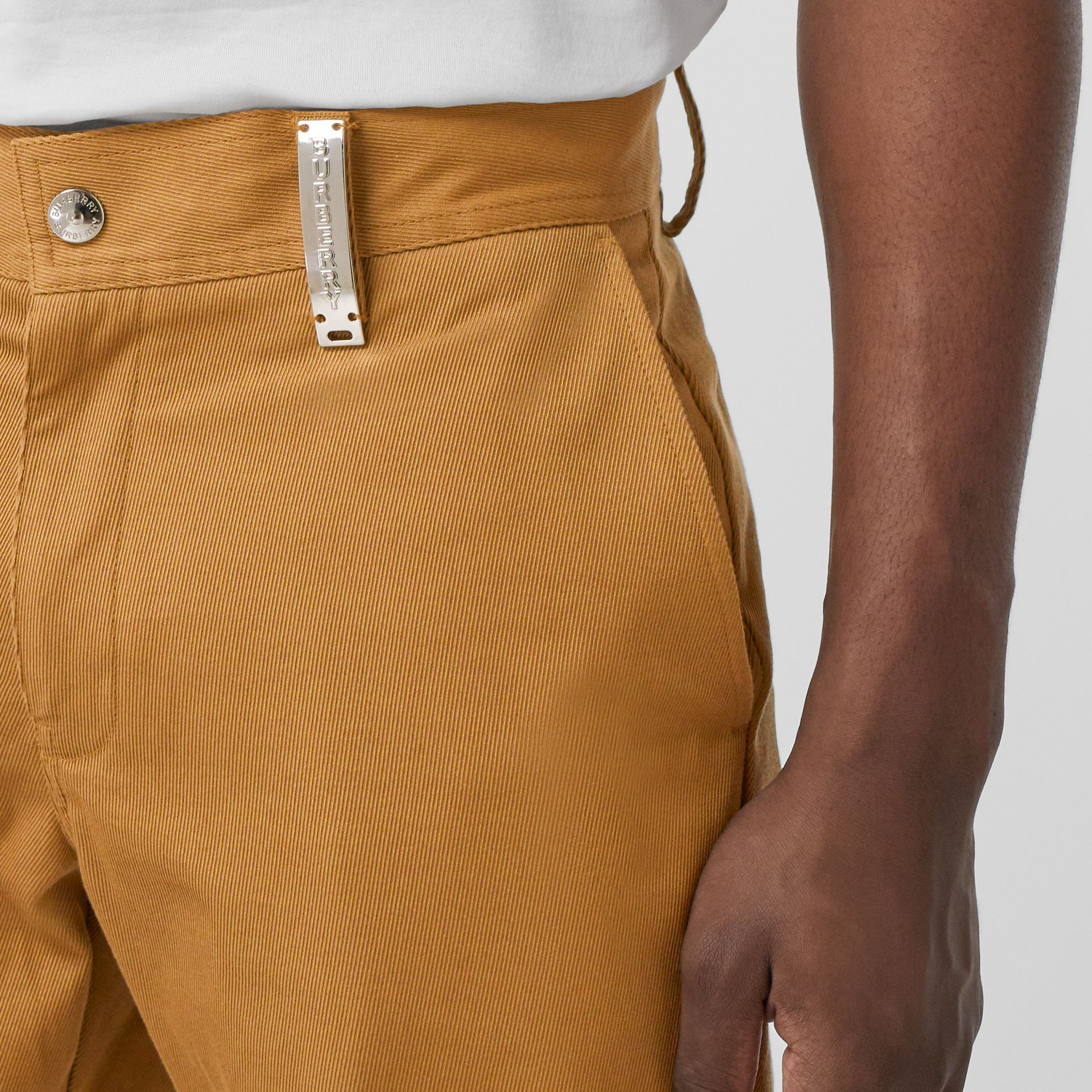 Straight Fit Logo Detail Cotton Chinos in Camel - Men | Burberry - gallery image 1