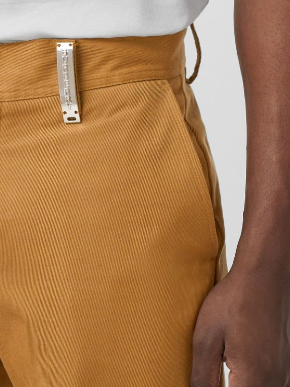 Straight Fit Logo Detail Cotton Chinos in Camel - Men | Burberry - cell image 1