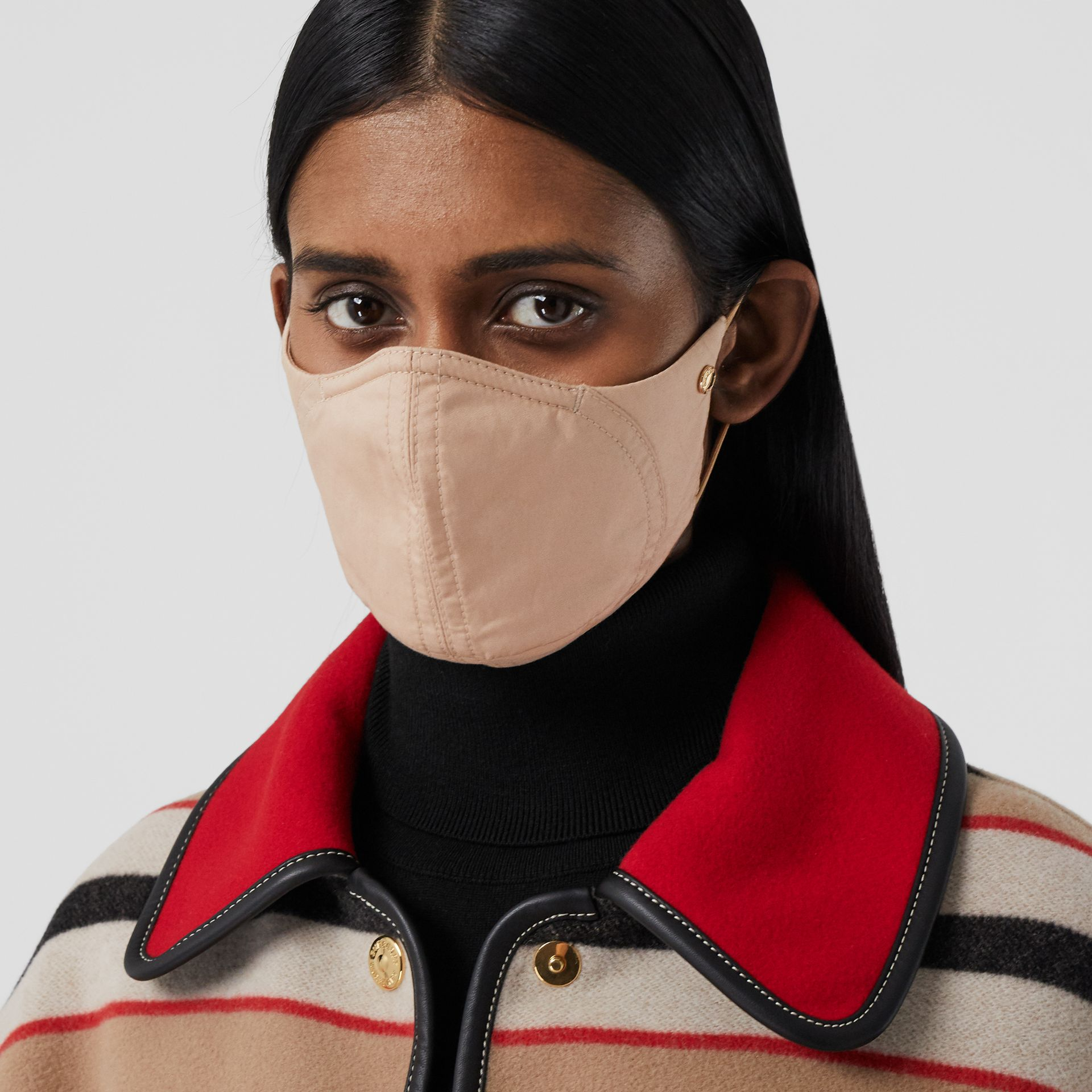 Logo Detail Cotton Face Mask in Soft Fawn | Burberry - gallery image 2