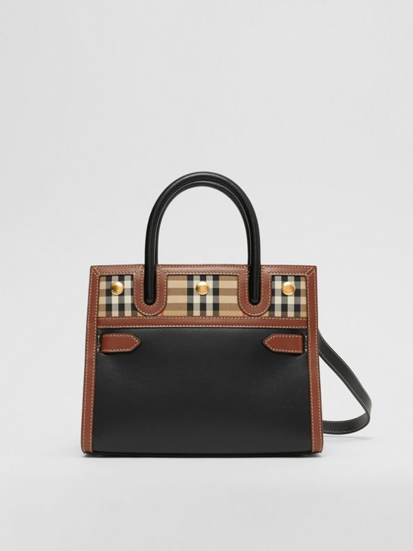 Mini Leather and Vintage Check Two-handle Title Bag in Black