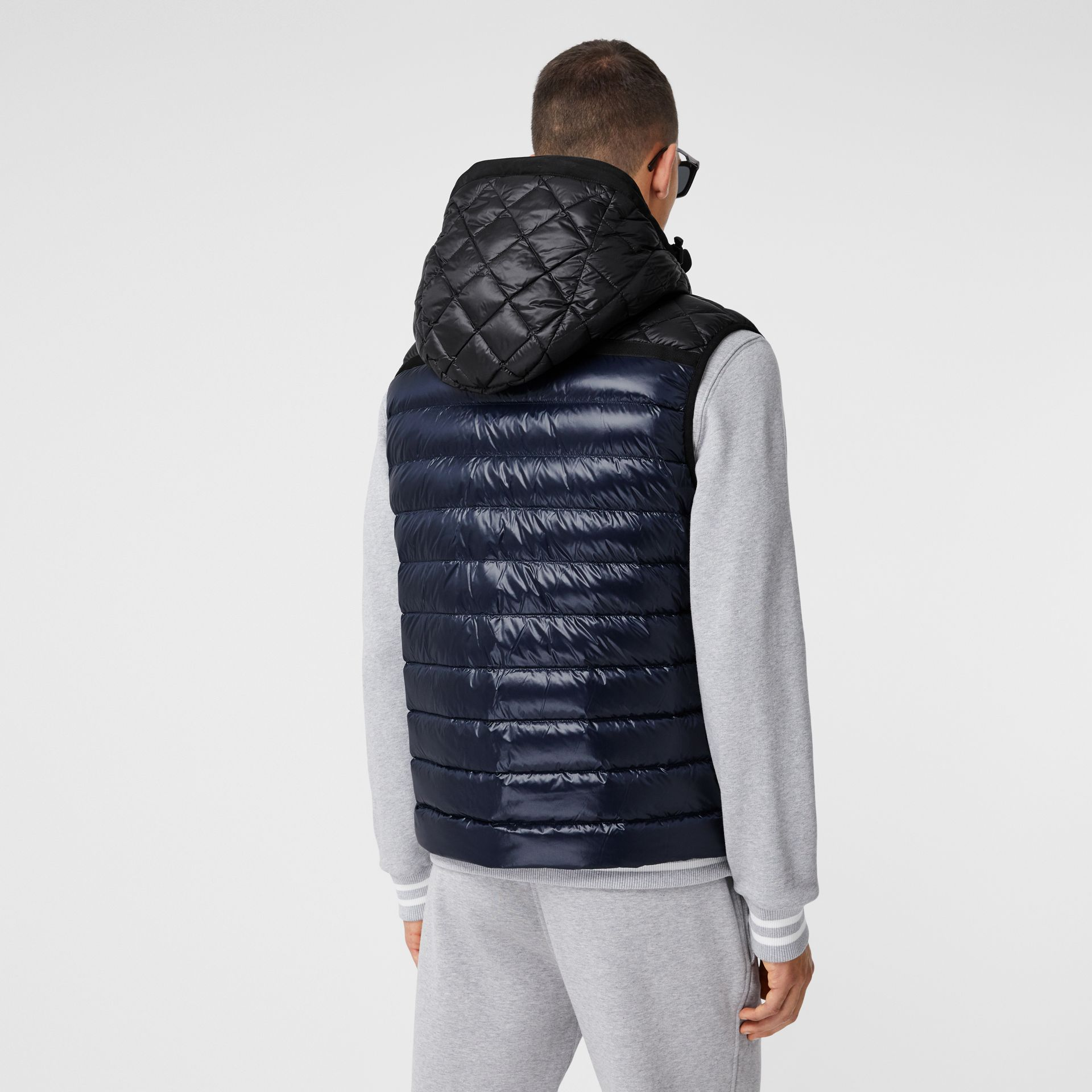 Diamond Quilted Panel Hooded Puffer Gilet in Midnight - Men | Burberry - gallery image 2