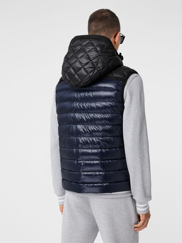 Diamond Quilted Panel Hooded Puffer Gilet in Midnight - Men | Burberry - cell image 2