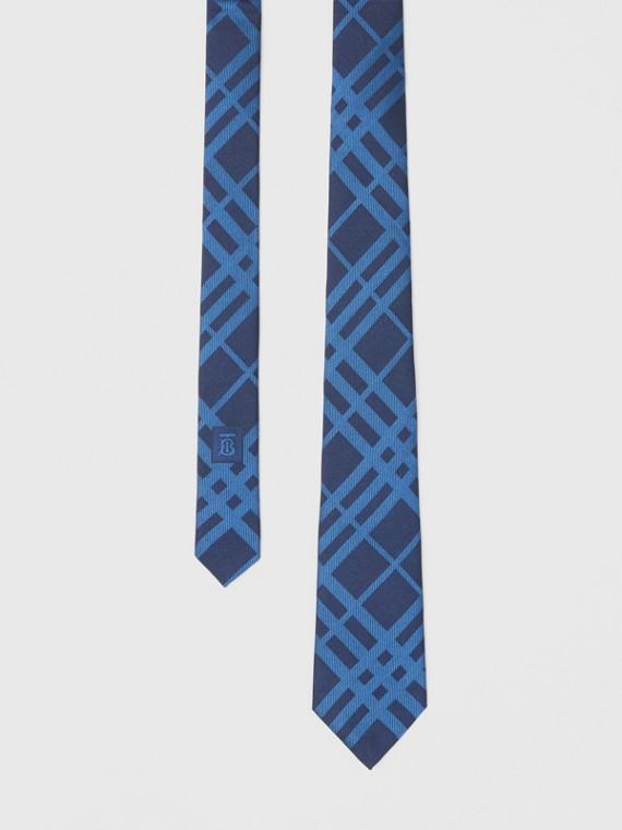 Gravata de seda com estampa xadrez em jacquard e corte clássico (Azul Nanquim)