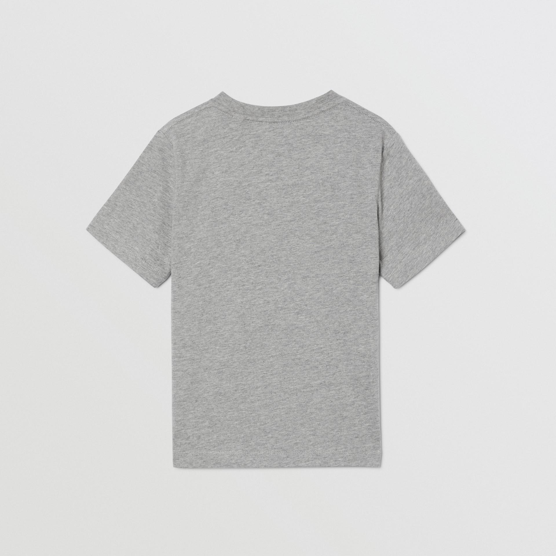 Logo Print Cotton T-shirt in Grey Melange   Burberry - gallery image 4