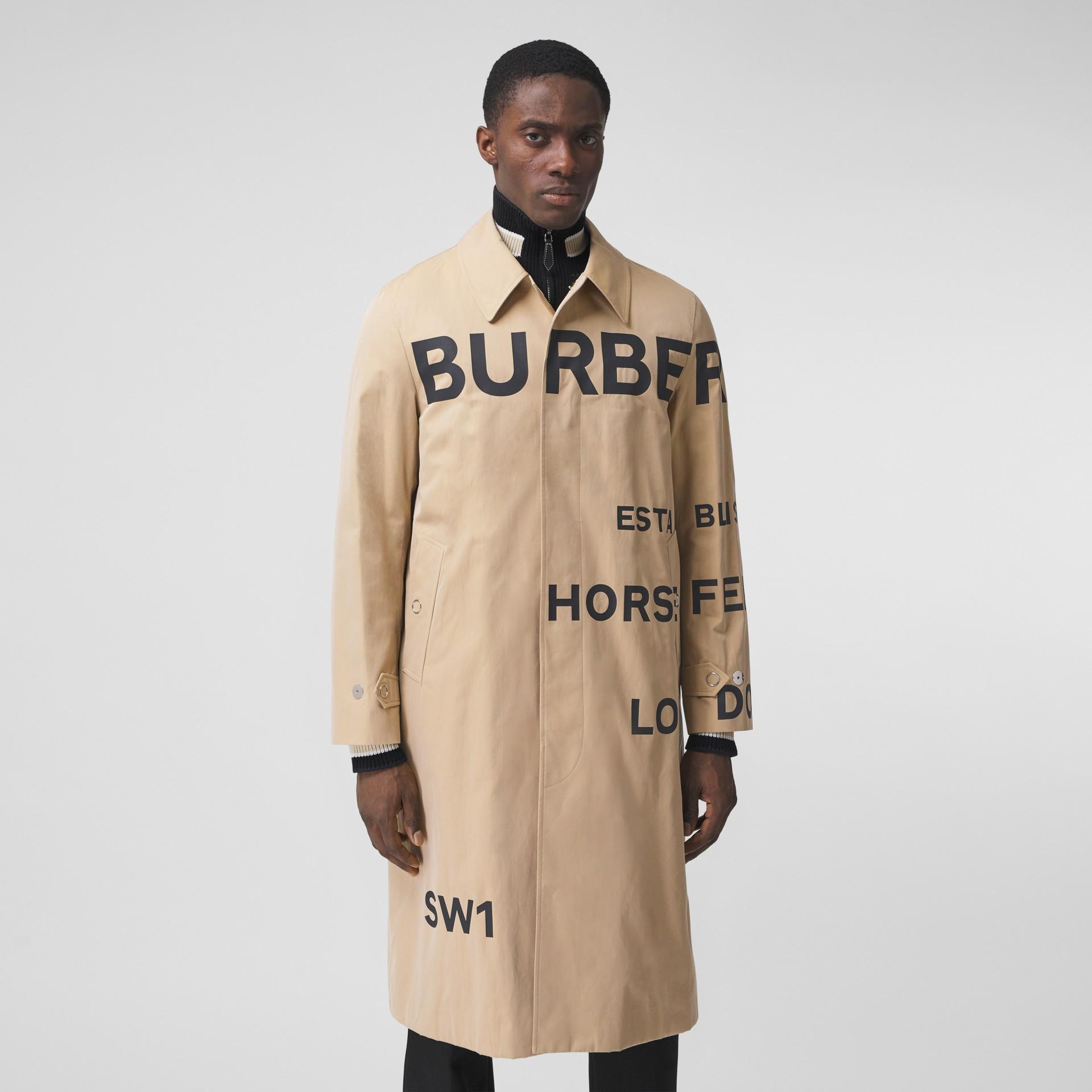 Horseferry Print Cotton Gabardine Car Coat in Honey - Men | Burberry - gallery image 6