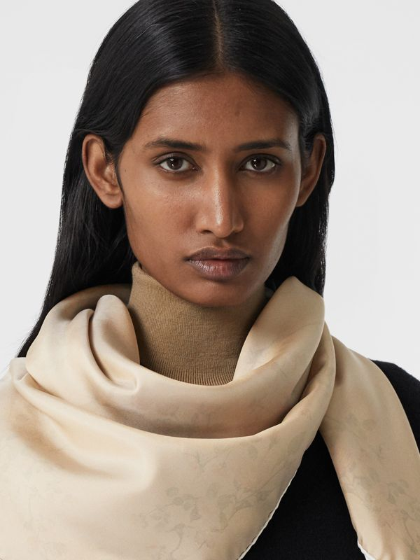 Rose Print Silk Square Scarf in White | Burberry - cell image 2