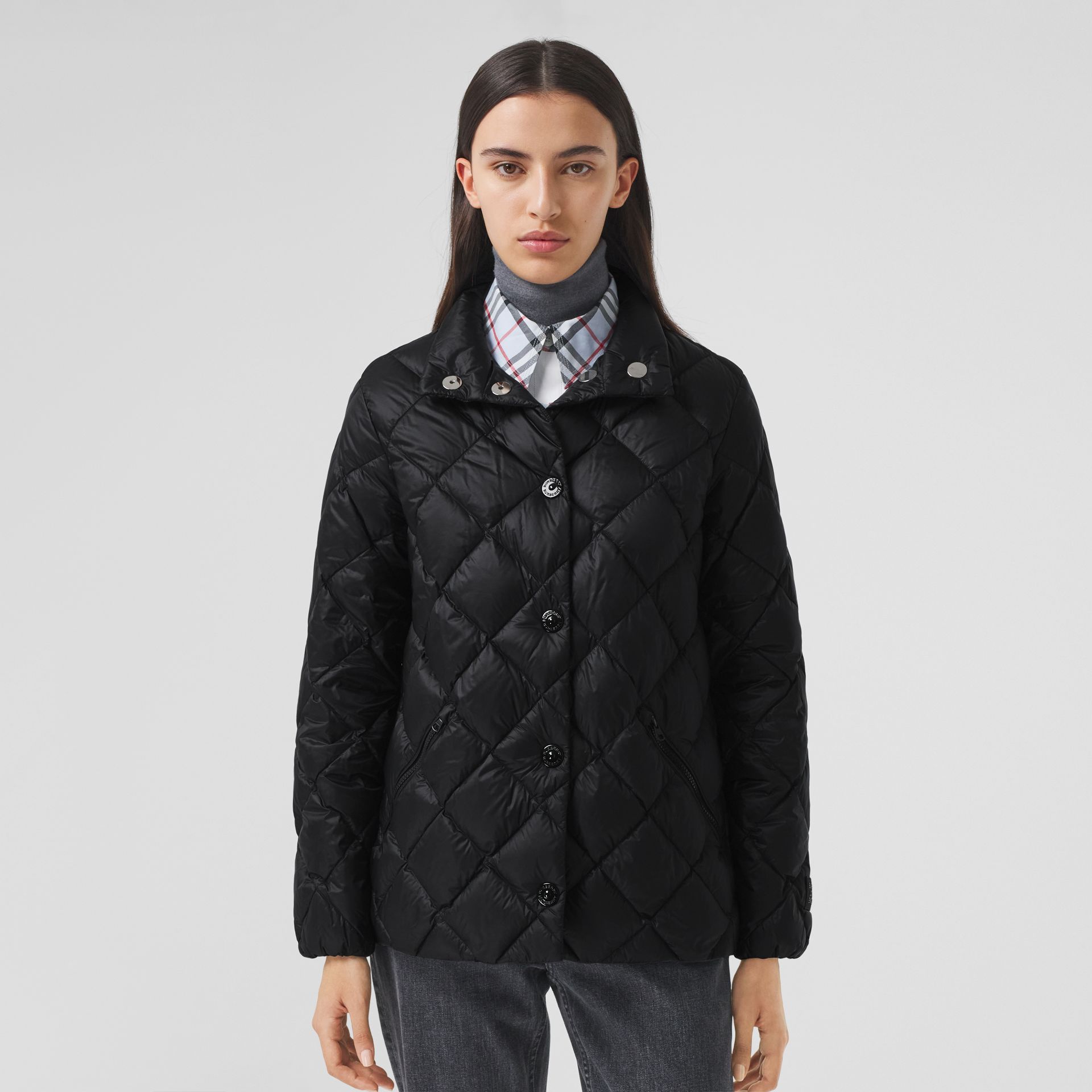 Diamond Quilted Down-filled Jacket in Black - Women | Burberry - gallery image 5