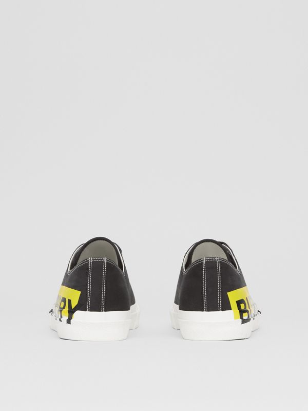 Logo Print Two-tone Cotton Gabardine Sneakers in Black - Men | Burberry - cell image 3