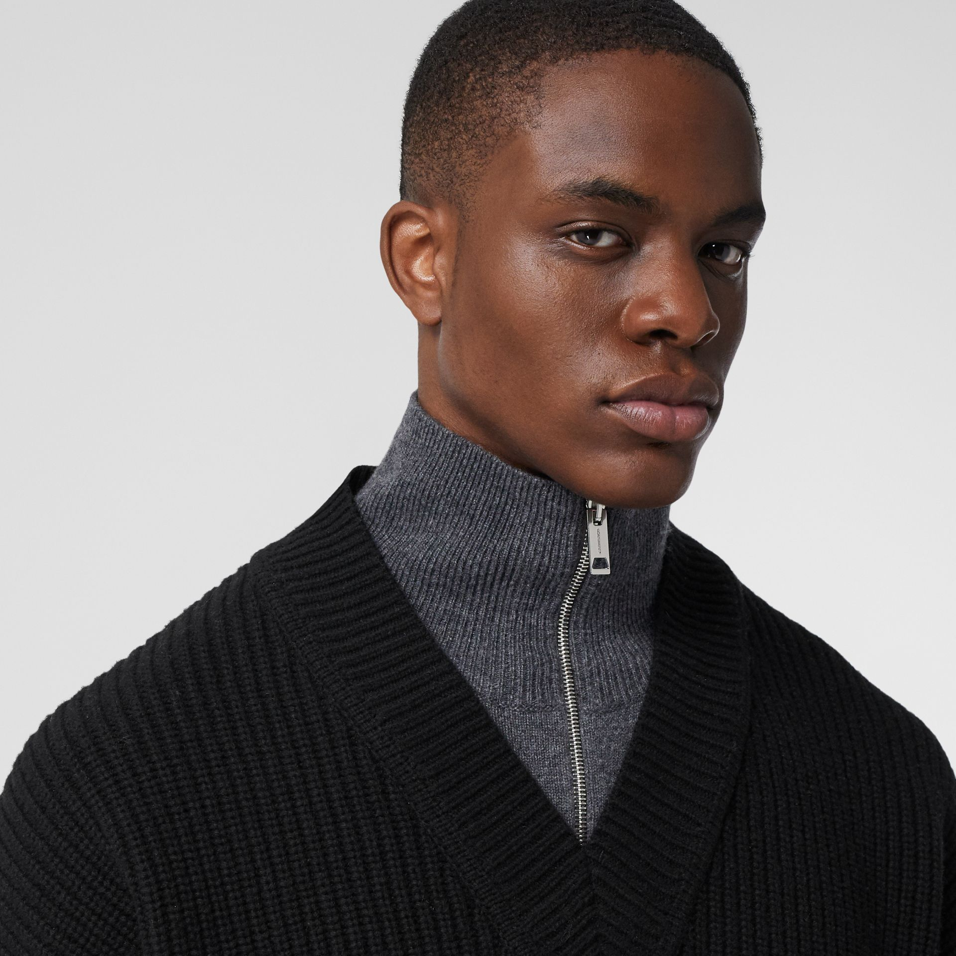 Funnel Neck Wool Cashmere Zip-front Sweater in Black - Men | Burberry - gallery image 1