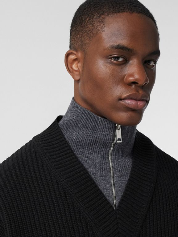Funnel Neck Wool Cashmere Zip-front Sweater in Black - Men | Burberry - cell image 1