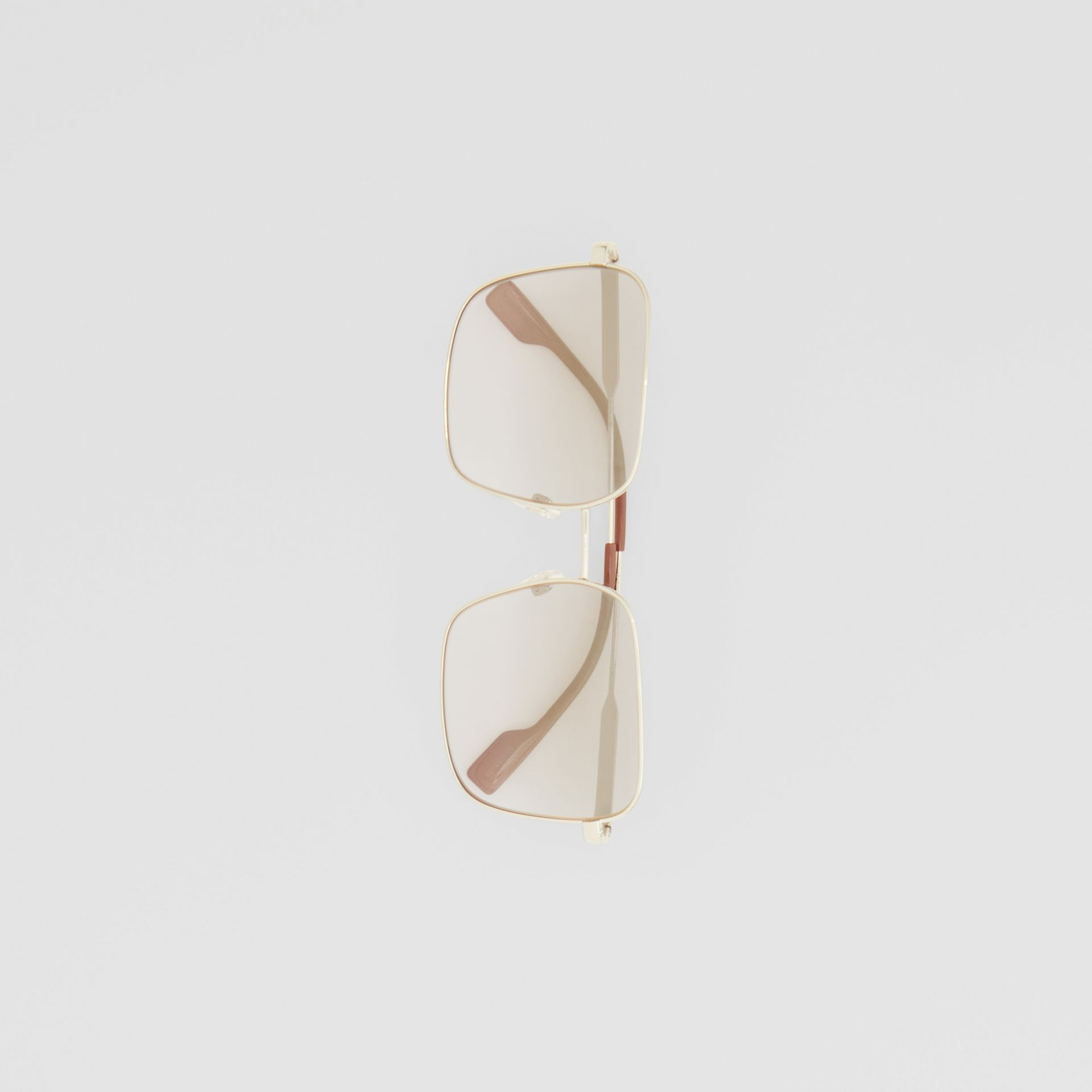 Oversized Square Frame Sunglasses in Nude Pink - Women | Burberry - gallery image 3