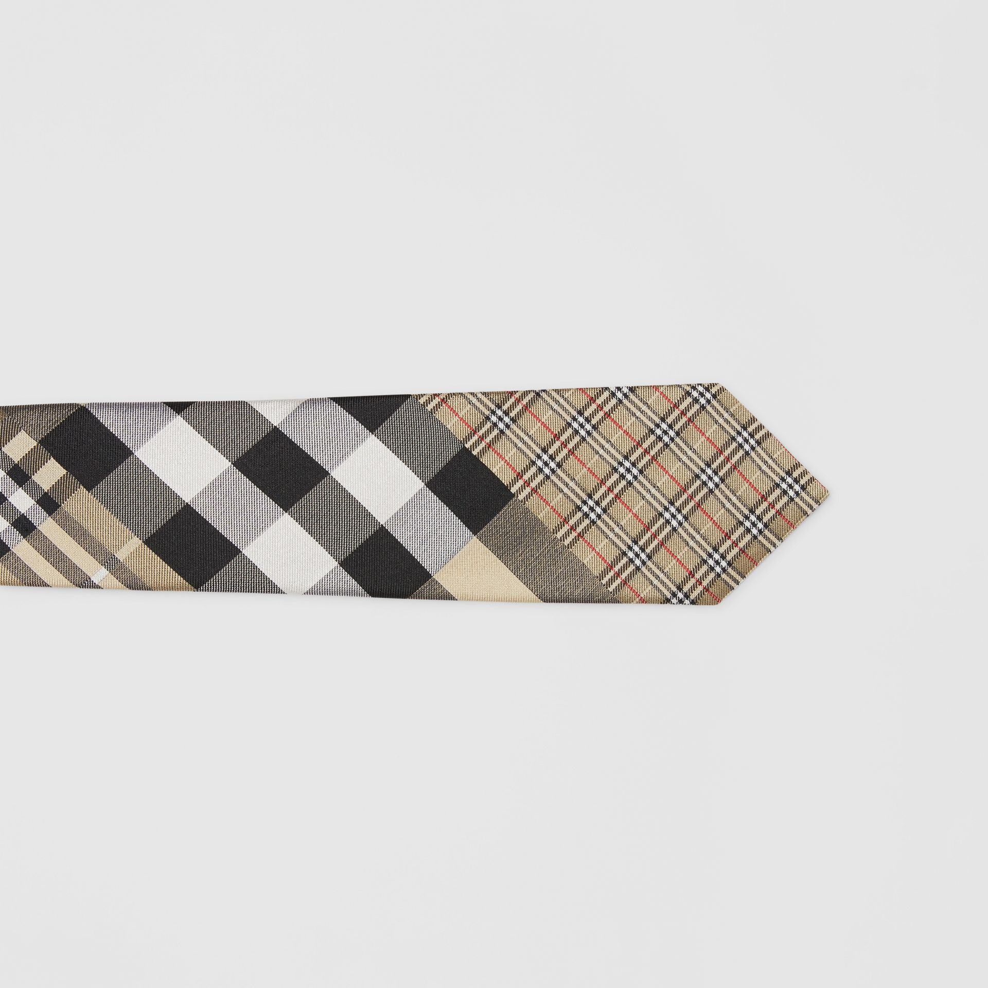 Classic Cut Check Silk Jacquard Tie in Archive Beige - Men | Burberry - gallery image 1