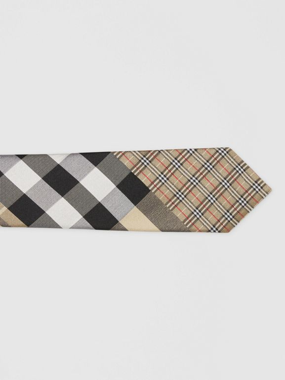 Classic Cut Check Silk Jacquard Tie in Archive Beige - Men | Burberry - cell image 1