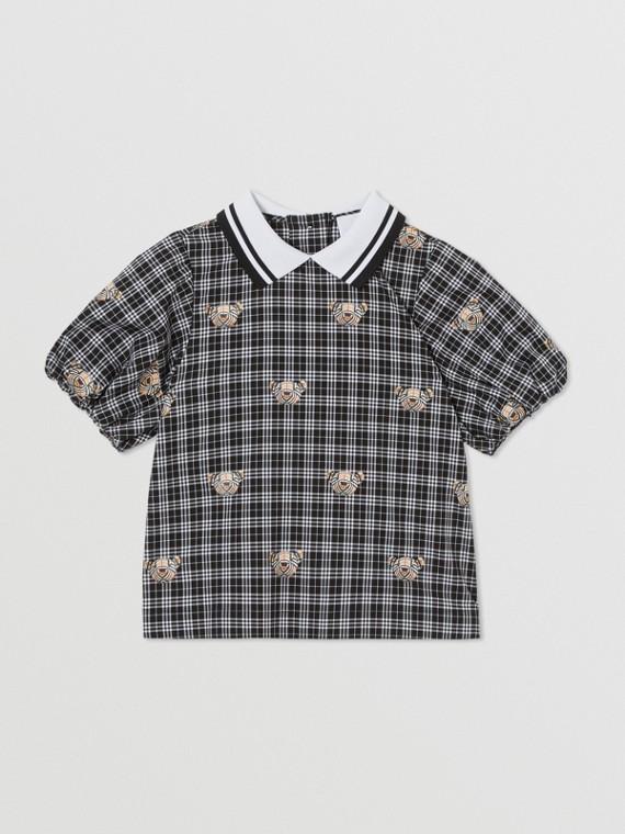 Puff-sleeve Thomas Bear Print Check Cotton Blouse in Black
