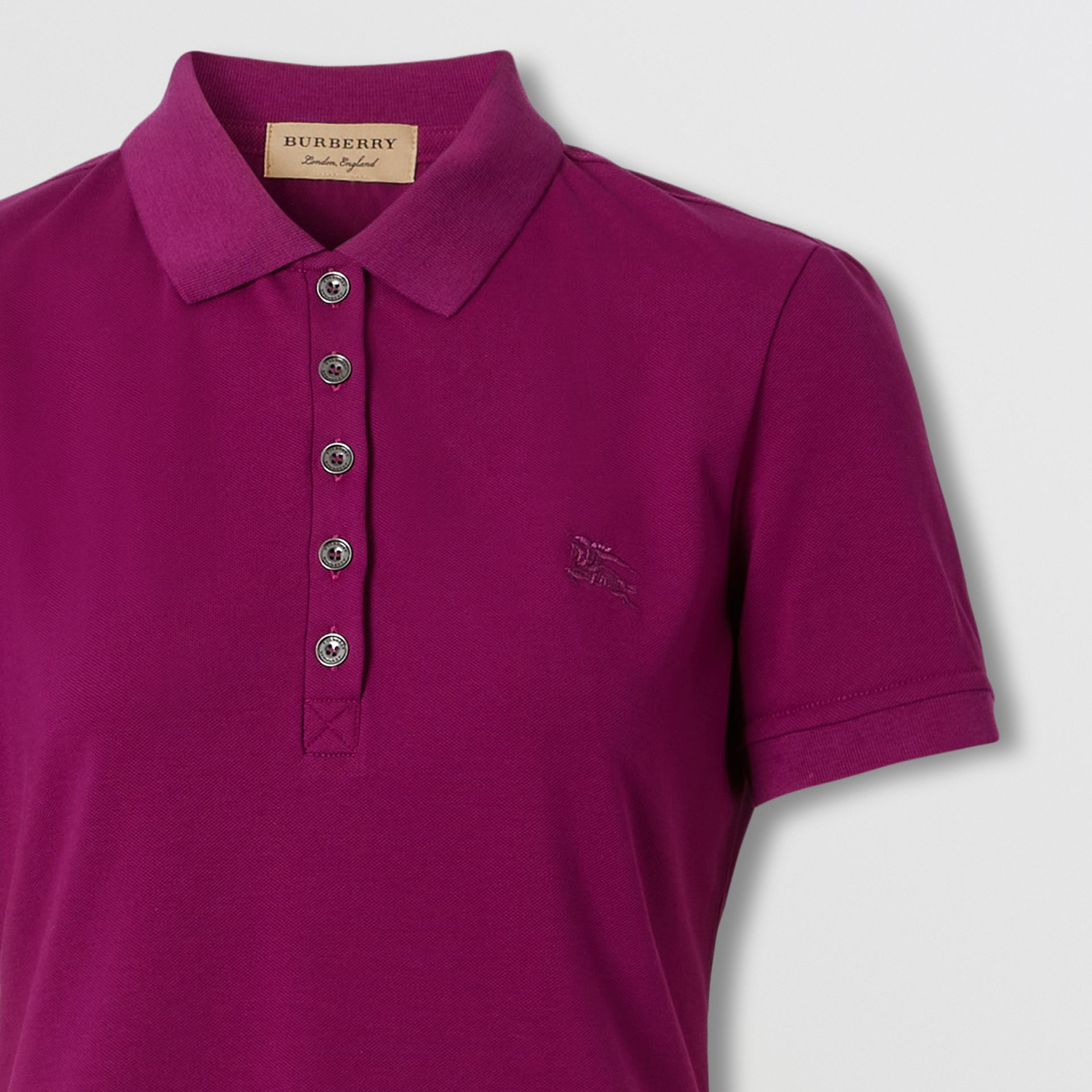 Check Trim Stretch Cotton Polo Shirt in Magenta Pink - Women | Burberry Hong Kong S.A.R. - gallery image 1