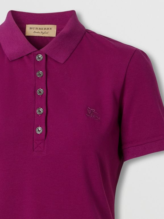 Check Trim Stretch Cotton Polo Shirt in Magenta Pink - Women | Burberry Hong Kong S.A.R. - cell image 1