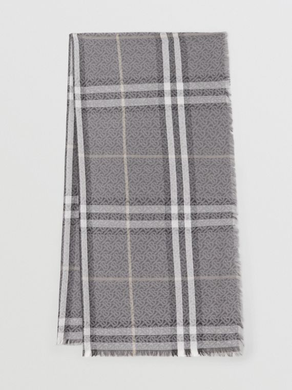 Lightweight Monogram and Check Wool Silk Scarf in Charcoal