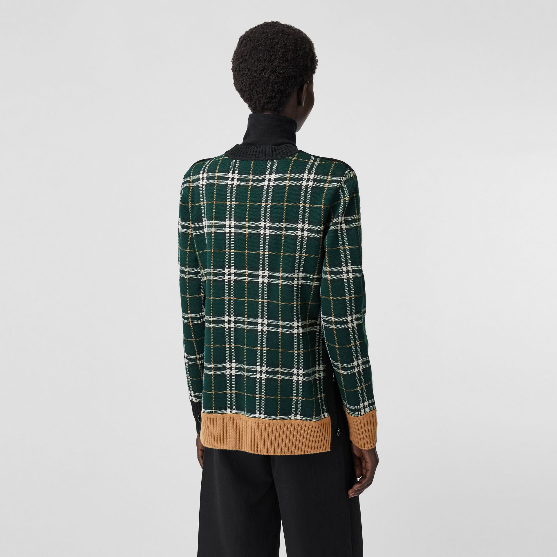 Check Technical Merino Wool Jacquard Sweater in Bottle Green - Women | Burberry - gallery image 2