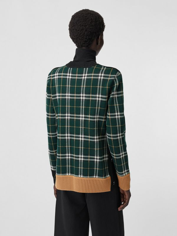 Check Technical Merino Wool Jacquard Sweater in Bottle Green - Women | Burberry - cell image 2