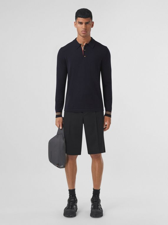 Long-sleeve Icon Stripe Detail Wool Polo Shirt in Navy