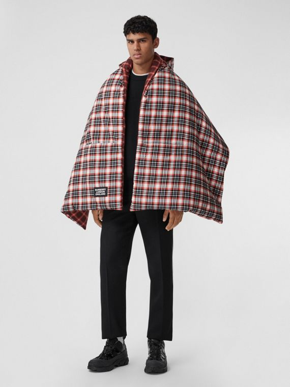 Reversible Tartan Cotton Puffer Poncho in Bright Red