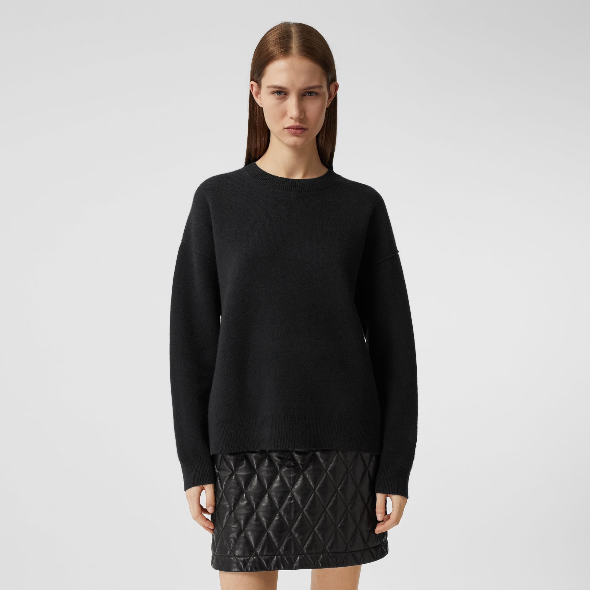 Monogram Motif Cashmere Blend Sweater in Black - Women | Burberry - gallery image 5