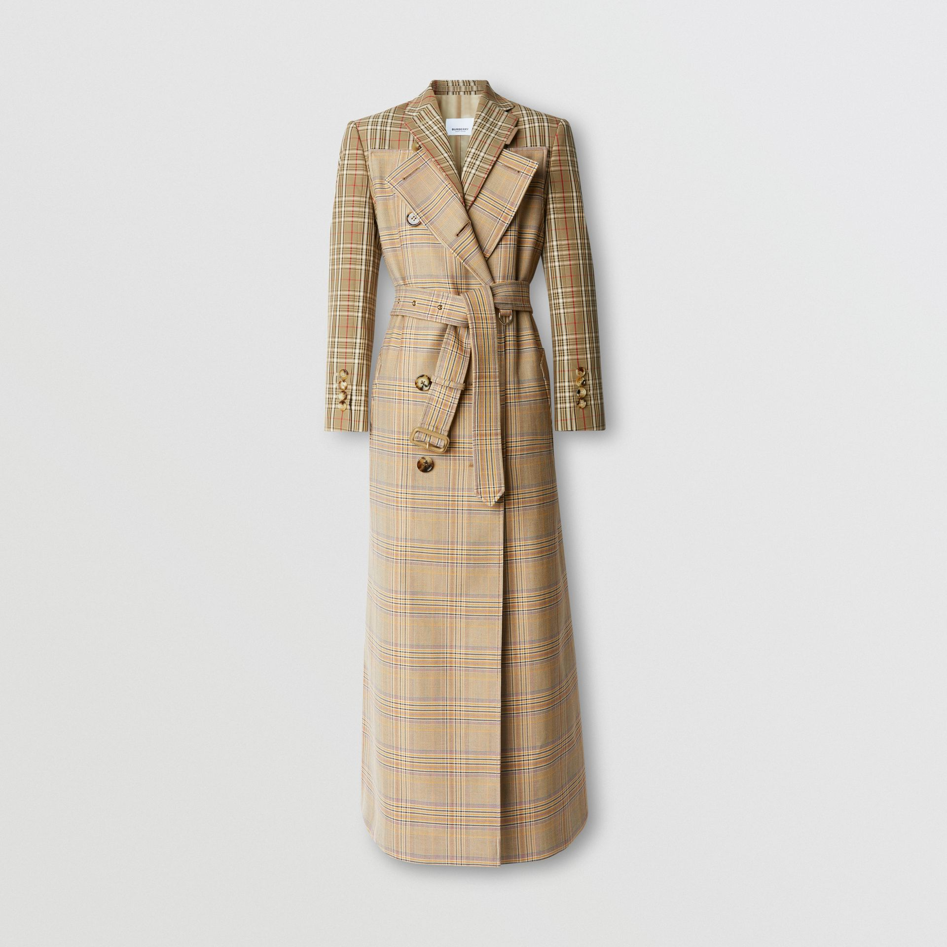 Custom Fit Contrast Check Wool Cotton Trench Coat in Dark Honey - Women | Burberry - gallery image 3