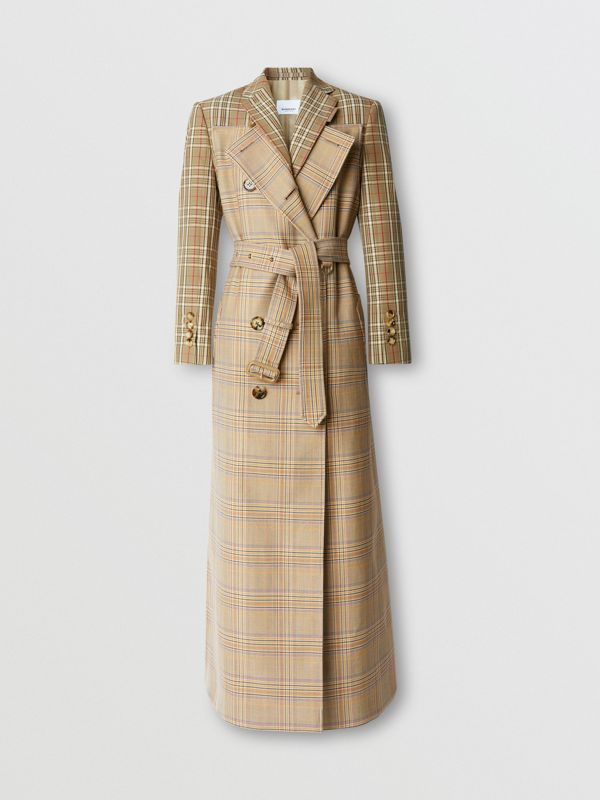 Custom Fit Contrast Check Wool Cotton Trench Coat in Dark Honey - Women | Burberry - cell image 3