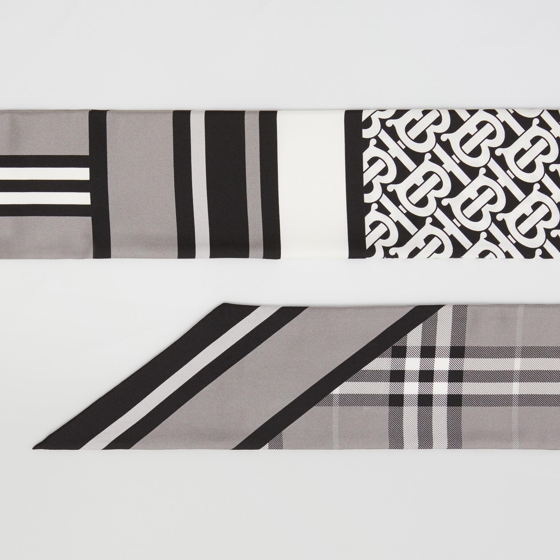 Montage Print Silk Skinny Scarf in Monochrome | Burberry - gallery image 1