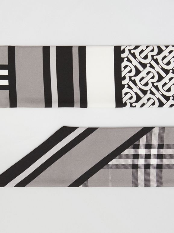 Montage Print Silk Skinny Scarf in Monochrome | Burberry - cell image 1