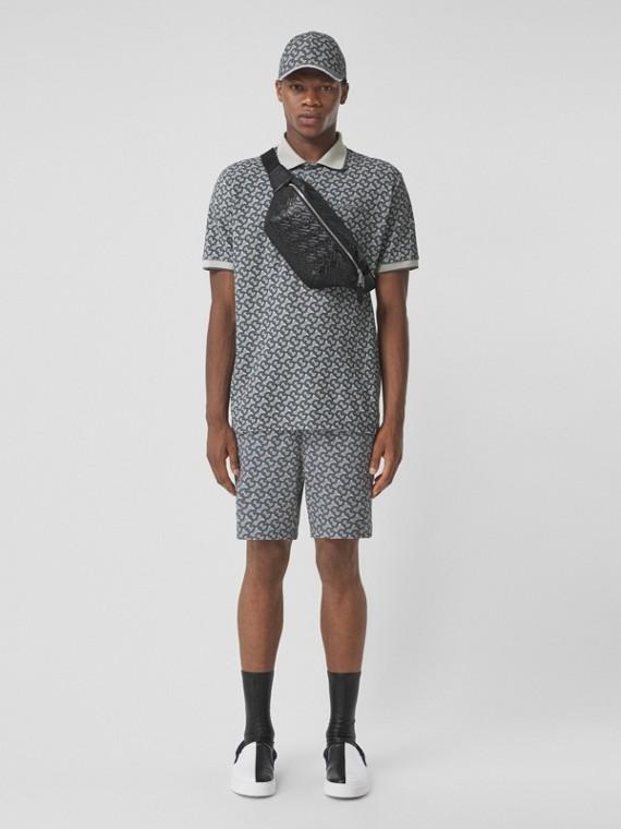 Baumwollpiqué-Shorts mit Monogrammmuster– Exklusives Online-Design (Mittelgrau)