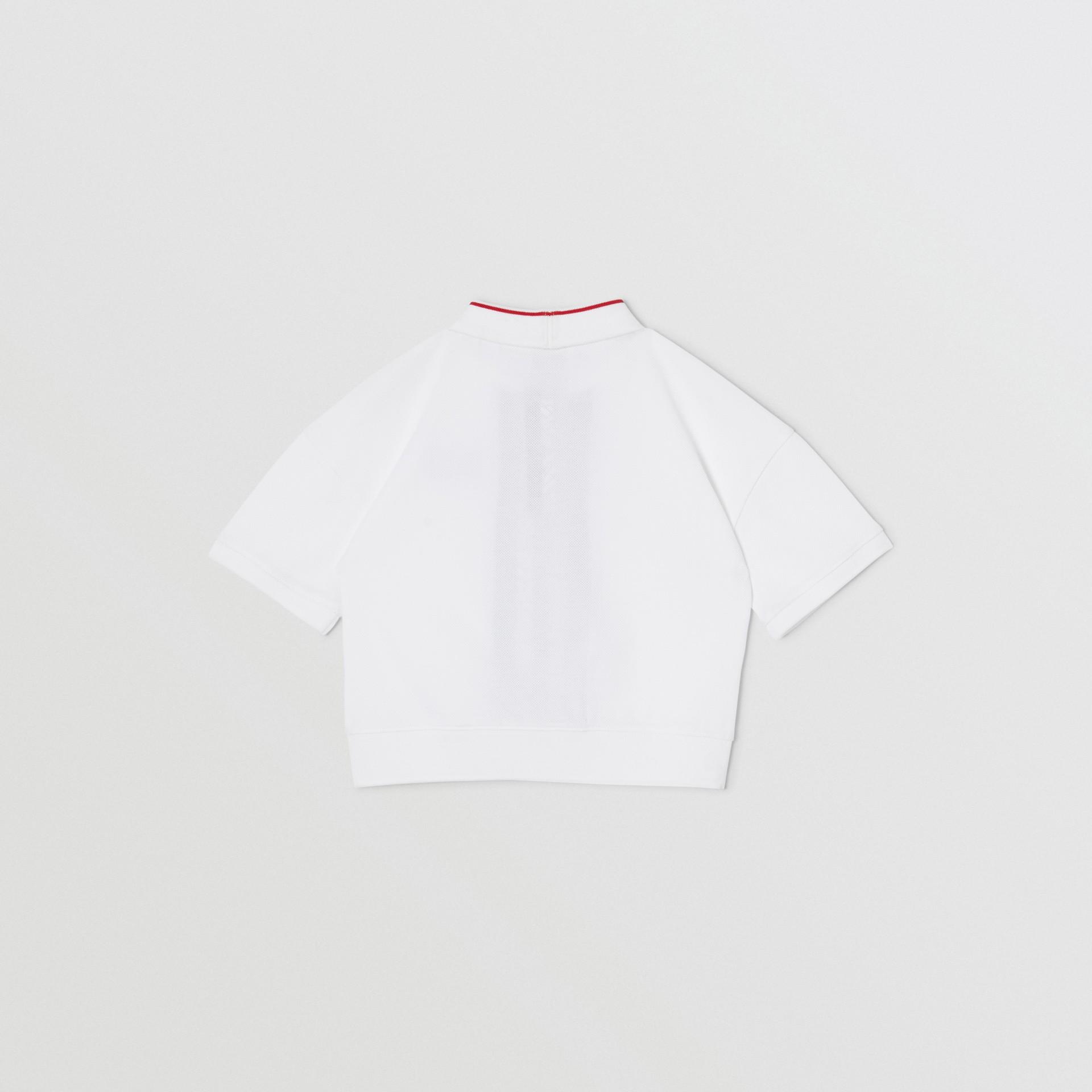 Monogram Stripe Print Cotton Piqué Polo Shirt in White | Burberry United Kingdom - gallery image 3