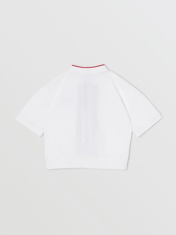 Monogram Stripe Print Cotton Piqué Polo Shirt in White | Burberry United Kingdom - cell image 3