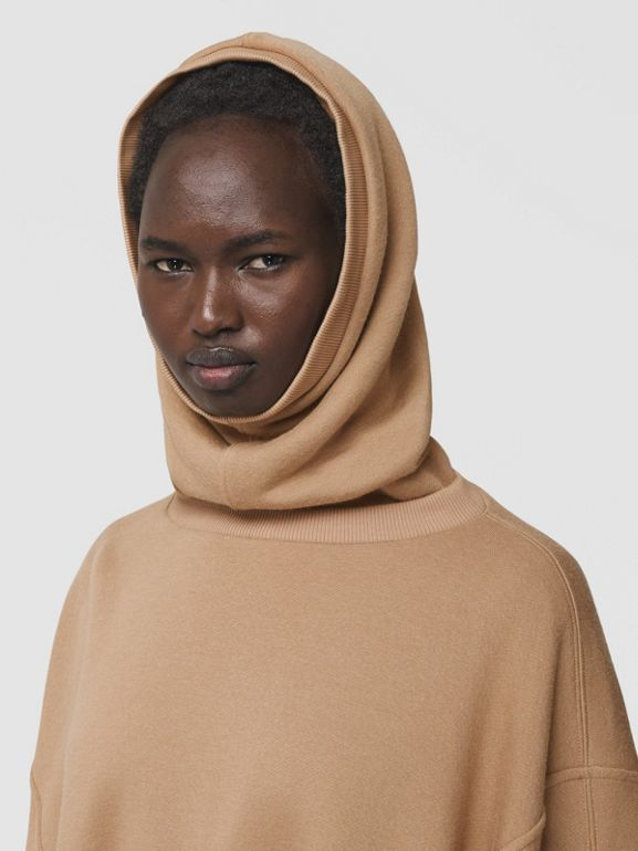 Cut-out Sleeve Jersey Hooded Cape in Camel - Women | Burberry Canada - cell image 1
