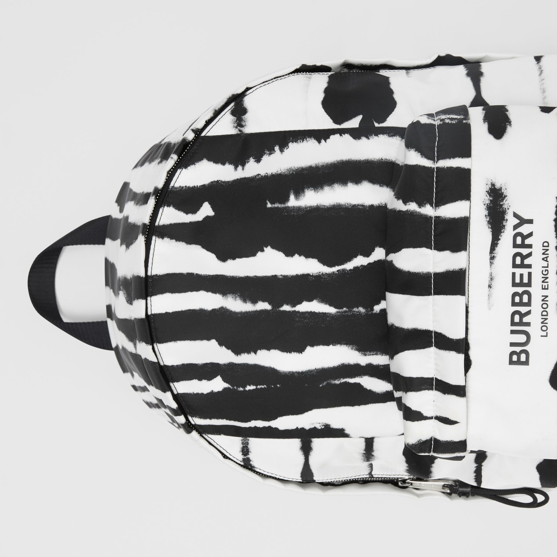 Watercolour Print ECONYL® Backpack in Black/white | Burberry - gallery image 1