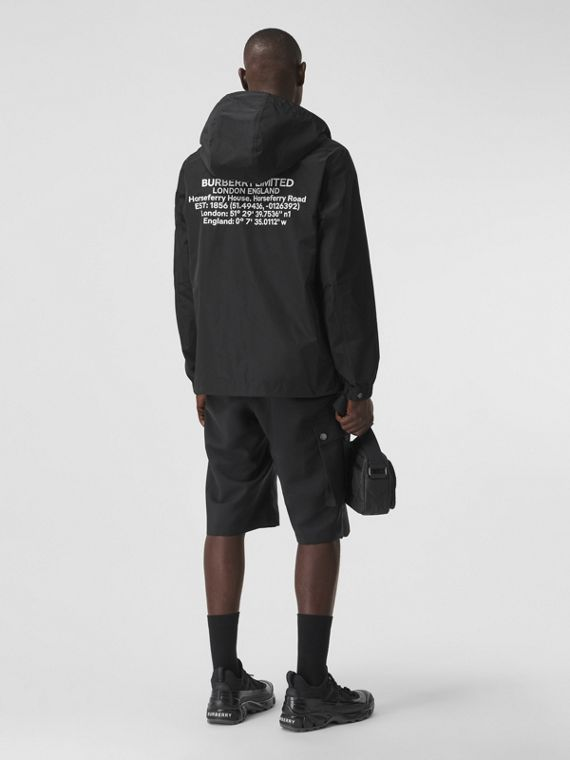 Location Print Shape-memory Taffeta Jacket in Black