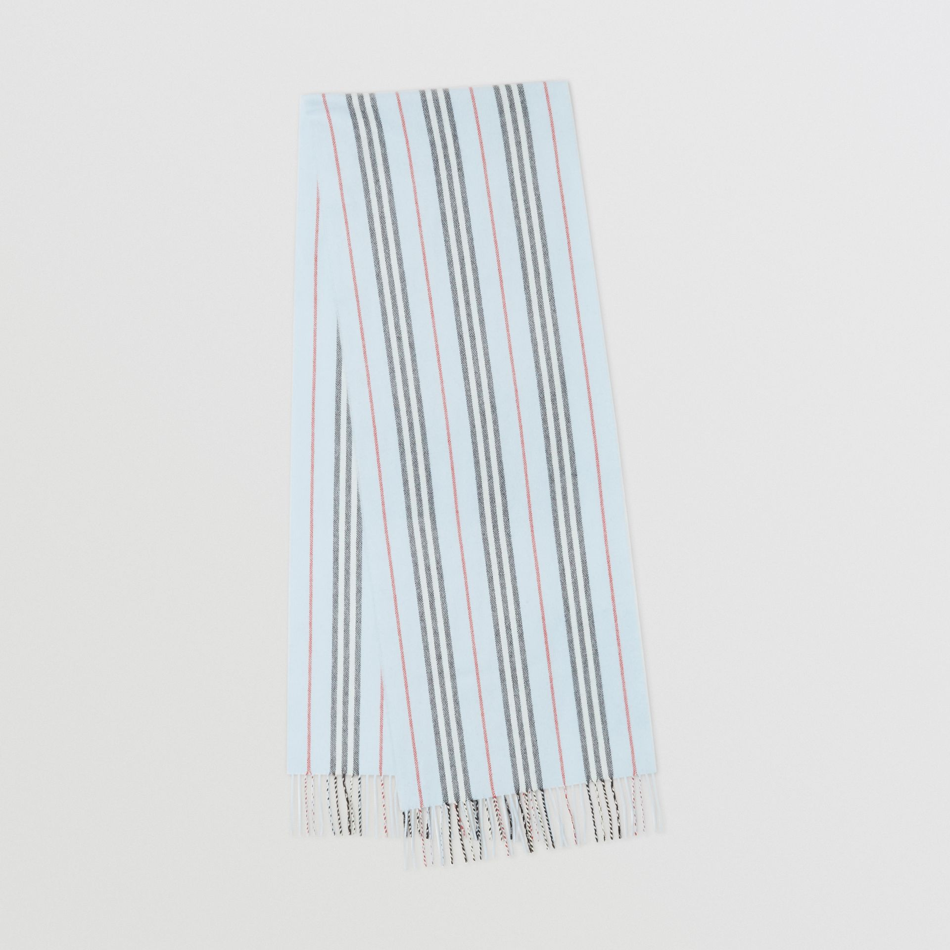 Icon Stripe Cashmere Merino Wool Scarf in Pale Blue | Burberry - gallery image 0