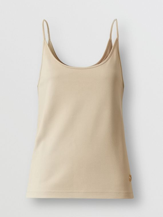 Monogram Motif Stretch Jersey Camisole in Soft Fawn