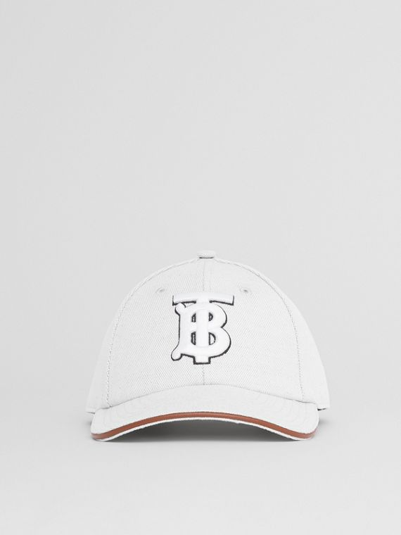 Monogram Motif Cotton Linen Canvas Baseball Cap in White